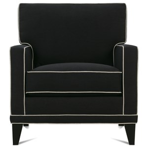 Customizable Chair with Track Arms, Shaped Legs and Box Style Back Cushion