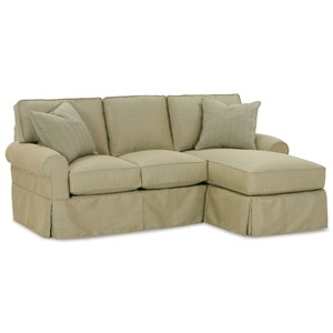Casual Three Cushion Sofa Chaise with Rolled Arms