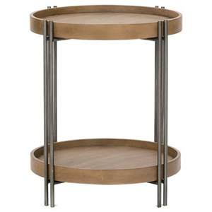 Wood/Metal Round End Table with Shelf