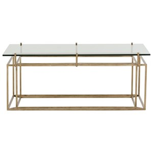 Tempered Glass Top Rectangular Cocktail Table with Gold Finish Metal Base