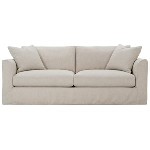 Transitional Sofa with Tapered Arms and Slipcover