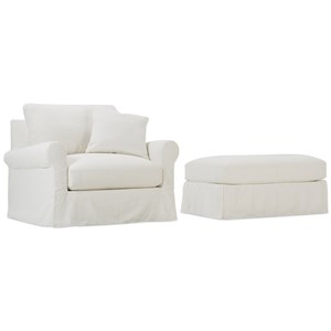 Transitional Chair and Ottoman Set with Slipcovers