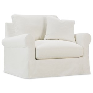 Transitional Chair with Rolled Arms and Slipcover