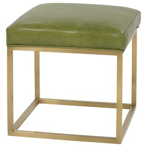 Contemporary Accent Cube Ottoman with Metal Frame