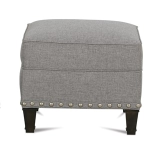 Traditional Upholstered Ottoman with Nailhead Trim