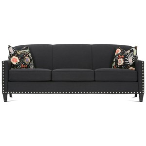 Traditional Upholstered Sofa with Nailhead Trim & Exposed Wood Feet