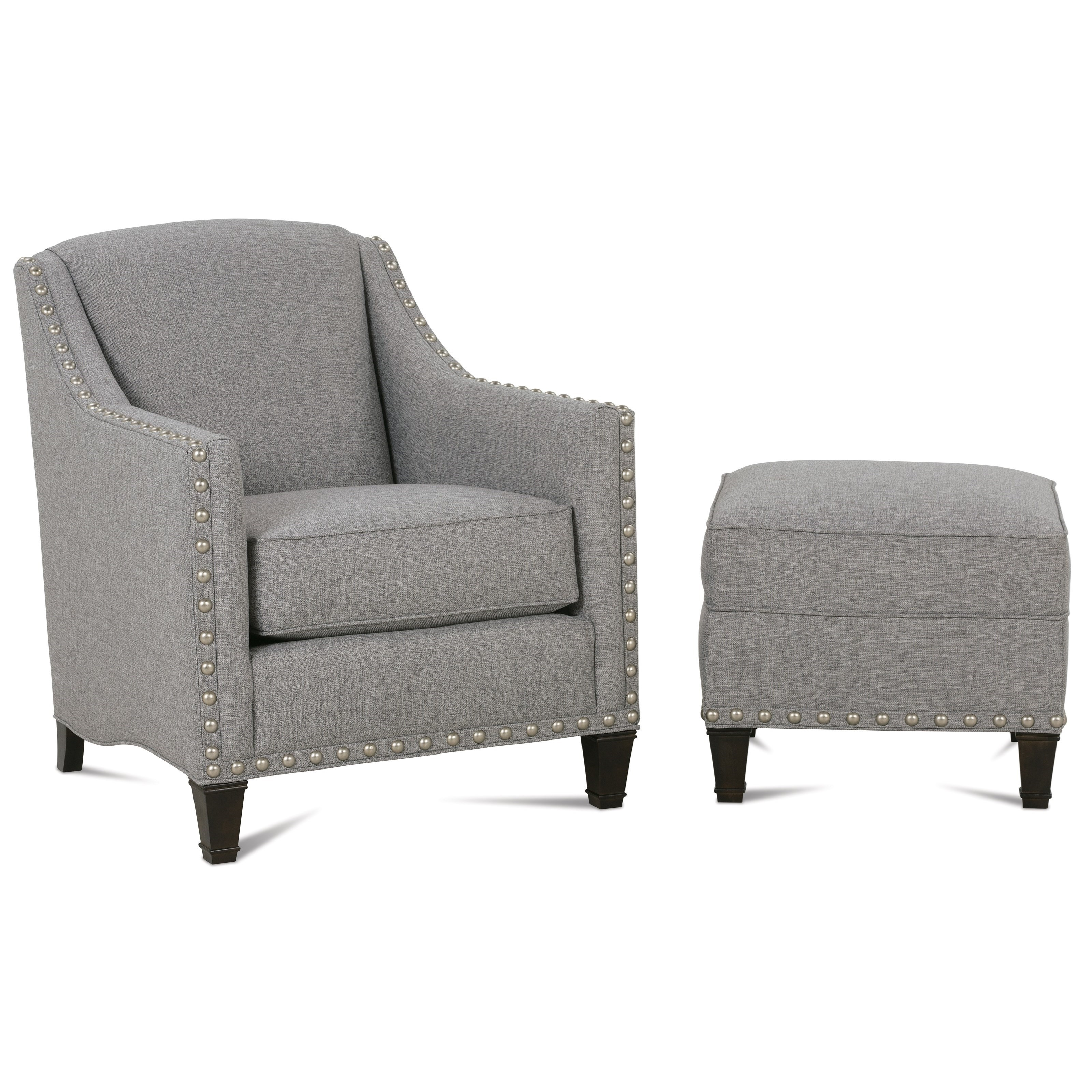 Rockford Traditional Upholstered Chair & Ottoman by Rowe at Baer's Furniture