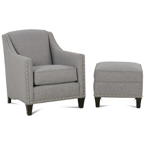 Traditional Upholstered Chair & Ottoman with Nailhead Trim & Exposed Wooden Legs