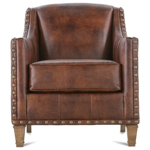 Traditional Upholstered Chair with Nailhead Trim & Exposed Wood Legs