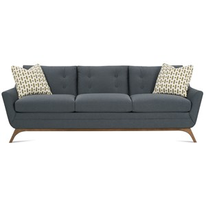 Contemporary Sofa with Flared Wood Legs and Tufted Back