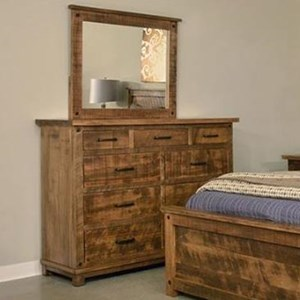 Rustic 9-Drawer Dresser and Mirror Set