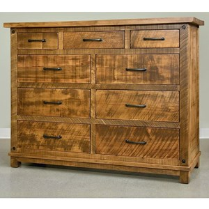 Rustic 9 Drawer Dresser