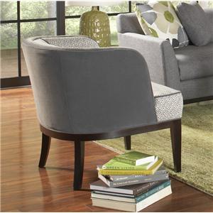 Contemporary Barrel Back Club Chair with Tapered Block Legs