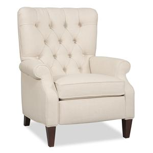 Traditional Hi-Leg Recliner with Rolled Arms and Tufted Back