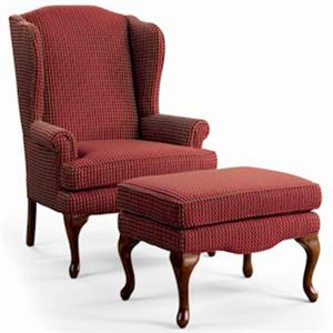 Sam Moore Annie Queen Anne Wing Chair and Ottoman