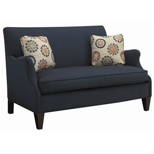 Contemporary Settee with Romantic Curved Arm