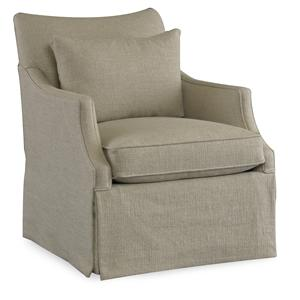 Casual Swivel Glider Chair with English Arms and Waterfall Skirt