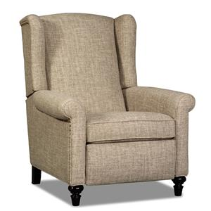 Traditional High Leg Recliner with Turned Legs and Nailhead Trim