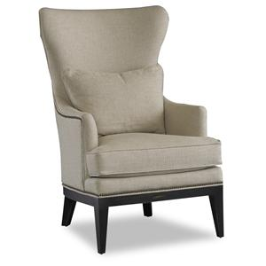 Transitional Wing Chair with English Arms and Exposed Wood Legs