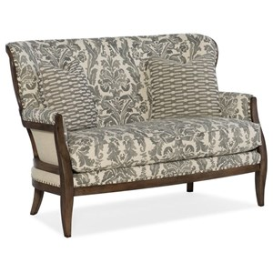 Deconstructed Upholstered Settee with Exposed Wood Frame