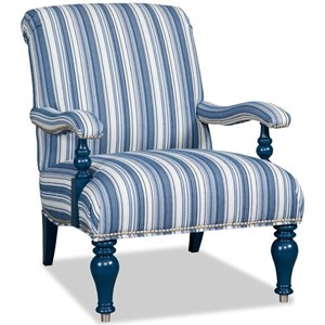 Traditional Accent Chair with Exposed Wood Trim and Nailheads
