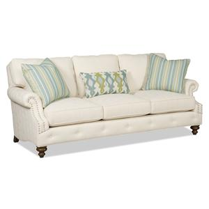 Traditional Three-Over-Three Sofa with Rolled Arms and Nailhead Trim