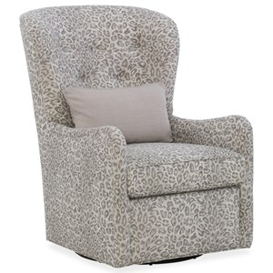 Transitional Tufted Back Swivel Chair