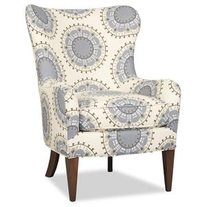 Contemporary Wing Chair with Tapered Wood Legs