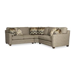 Contemporary Three Piece Sectional Sofa with Toss Pillows