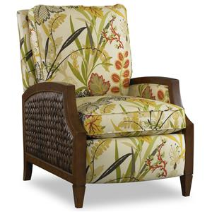 Coastal High Leg Recliner with Wicker Panels