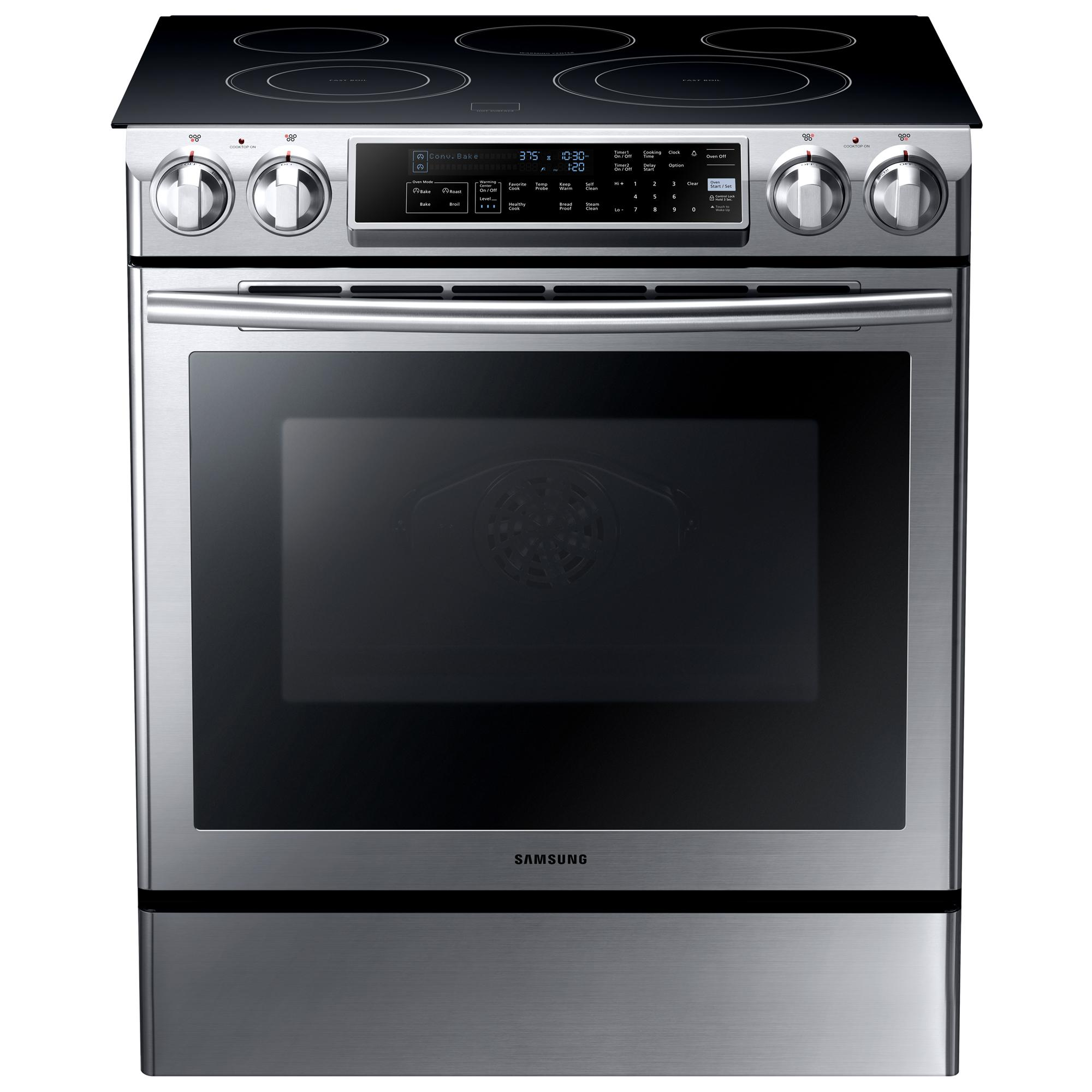 "Electric Range 30"" Slide-In Electric Range by Samsung Appliances at VanDrie Home Furnishings"
