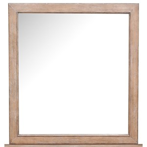 Landscape Mirror with Distressed Wood Frame