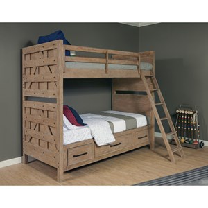 Bunk Bed with Trundle Storage Unit