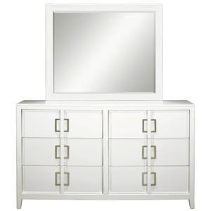Contemporary Drawer Dresser & Mirror Set