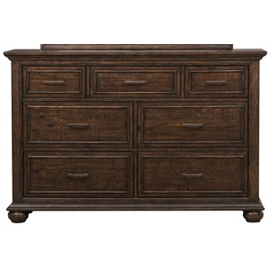 7 Drawer Dresser in Highly Distressed Brown Finish