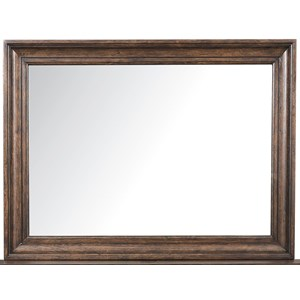 Beveled Mirror with Distressed Brown Wood Frame