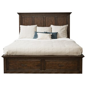 Transitional King Storage Bed with 6 Drawers