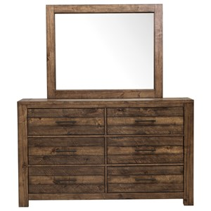 Rustic 6-Drawer Dresser and Mirror Combo