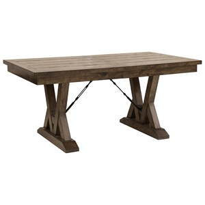 Rustic Trestle Dining Table with Metal Accents