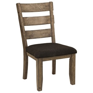Rustic Side Chair with Upholstered Seat