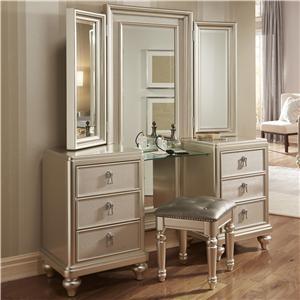 Vanity Dresser & Tri-View Mirror Combo w/ Stool