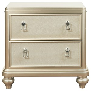 2-Drawer Nightstand w/ Embossed Faux Leather