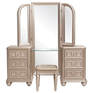 Vanity with Stool and Tri-View Mirror