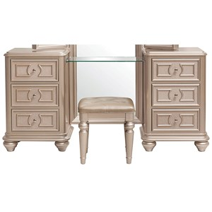 Vanity with Stool in Gold Metallic Finish
