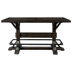 Bar Height Stand-Up Brew Pub Table with Metal Footrest & Trestle Base