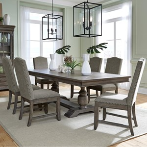 Traditional 7-Piece Trestle Dining Table and Upholstered Chair Set