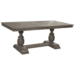 "Traditional Gray / Brown Trestle Dining Table with 20"" Leaf"