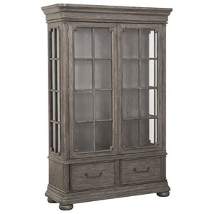 Traditional Gray / Brown China Cabinet with Built-In Lighting