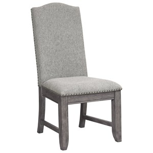 Traditional Upholstered Side Chair with Nail Head Trim