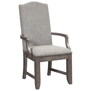Traditional Upholstered Arm Chair with Nail Head Trim